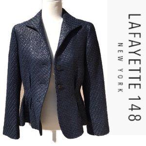 Lafayette 148 NY Tweed Jacket Black Blue silver 6